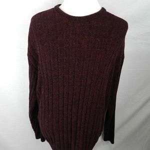 Geoffrey Beene XL Mens Sweater Burgundy Striped